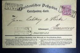 NDP Correspondenz Karte  Hirschberg To Barmen  1870
