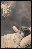 CARTE MONTEE - SURREALISME - ENFANT AVEC ANGE GARDIEN - FILLETTE - GIRL WITH ANGEL - Abbildungen