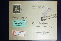 Deutschland: Einschreiben Airmail Cover 1923 Berlin To Zoppot, Freie Stadt Danzig  Mi 266