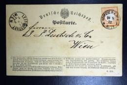 Deutschland: 1872 Postkarte Leipzig To Wien  Mi Nr 3