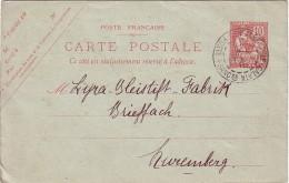 LEVANT - TURQUIE - TYPE MOUCHON - ENTIER POSTAL AVEC REPIQUAGE BANQUE IMPERIALE OTTOMANE - CONSTANTINOPLE GALATA 15-10-1 - Levant (1885-1946)