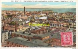 CPA  BIRD'S EYE VIEW SHOWING LIGHT HOUSE AND BRIGANTINE ISLAND ATLANTIC CITY - Atlantic City