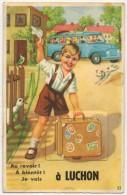 Jolie Vieille Carte à Système 10 Vues Au Revoir A Bientôt Je Vais à LUCHON - Autobus Enfant Chien Oiseau Oie.... - Luchon