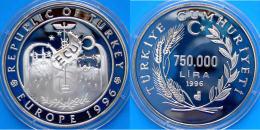 TURCHIA 750000 L 1996 ARGENTO PROOF EUROPE 1996 COMMEMORATIVA PESO 31,47g TITOLO 0,925 CONSERVAZIONE FONDO SPECCHIO - Turquie