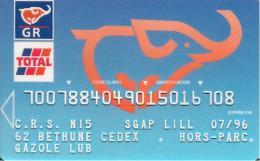 CARTE-MAGNETIQUE-CARBURANTS-TOTAL-Exp 07/96-ELEPHANT-R° BLEU-V°CP8-Oberthur 08/94-en Haut A Droite-TB E - France