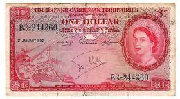 British Caribbean TERRITORIES BILLET 1 $ DOLLAR 1958  P7 QUEEN ELIZABETH 2 - Banknotes