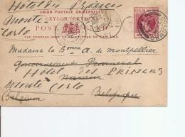 Ceylan ( EP De 1901 De Colombo Vers La Belgique Et Réexpédiée Vers Monaco à Voir) - Ceylan (...-1947)