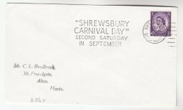 1966 GB Stamps COVER  SLOGAN Pmk  SHREWSBURY  CARNIVAL DAY SECOND SATURDAY IN SEPTEMBER - Carnival