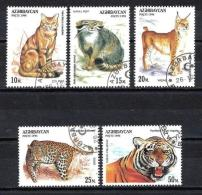 Animaux Félins Azerbaidjan (113) Série Complète De 5 Timbres Oblitérés - Big Cats (cats Of Prey)