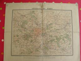 Grande Carte Murale Environs De Paris. Chemins De Fer Et Nouveaux Forts. Fayard Vers 1875. Carte Toilée - Mappe