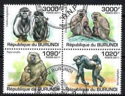 Burundi Animaux Singes (118) Série Complète De 4 Timbres Oblitérés Yv 1245 à 1248 - Burundi