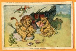 MAU-19  Lion Dans Son Intérieur. Litho. Cachet 1909, Timbre Manque. Papier Fin. - Lions