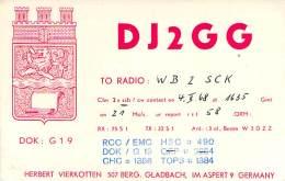 Amateur Radio QSL Card - DJ2GG - Germany - 1968 - 2 Scans - Radio Amateur