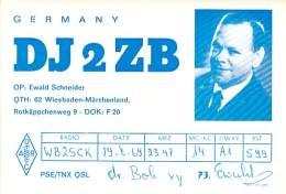 Amateur Radio QSL Card - DJ2ZB - Germany - 1969 - Radio Amateur