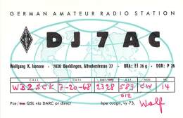 Amateur Radio QSL Card - DJ7AC - Germany - 1968 - Radio Amateur
