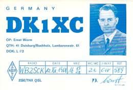 Amateur Radio QSL Card - DK1XC - Germany - 1968 - 2 Scans - Radio Amateur