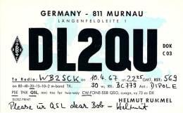 Amateur Radio QSL Card - DL2QU - Germany - 1967 - Radio Amateur