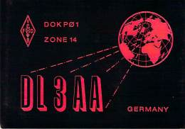 Amateur Radio QSL Card - DL3AA - Germany - 1968 - 2 Scans - Radio Amateur