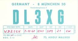 Amateur Radio QSL Card - DL3XG - Germany - 1968 - Radio Amateur
