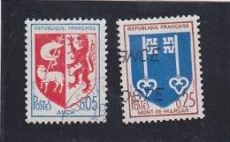 FRANCE   Y.T. N° 1468  1469   Oblitéré - 1941-66 Wapenschilden