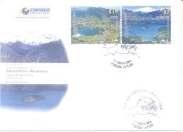 Argentina 2010 Rumania FDC. Lago Balea (Cárpatos), Lago Nahuel Huapi (Parque) Nutria (matasellos) Banderas, Montañas KAR