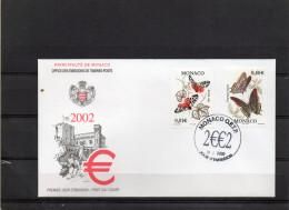 8FDC MONACO     PAPILLONS  TIMBRE   N° YVERT ET TELLIER   23203 E 25   2002 - FDC