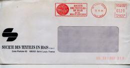 EMA Industrie Textile Fillamant Société Des Textiles En Biais,68 Saint Louis,Haut Rhin,lettre Obliterée 22.9.1986 - Textil