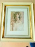 Lithographie Originale Encadrée De BRUNETTI  Fernando (XXè S.) Peintre Italien Référencé Art Price, Jeune Femme En Buste - Lithographies