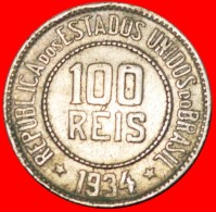 § 21 STARS: BRAZIL ★ 100 REIS 1934! LOW START★ NO RESERVE! - Brazil