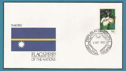 Nauru 1992 375  FDC Fleurs Hibiscus Drapeau - Nauru
