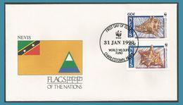 Nevis 1990 518 à 519 FDC Coquillages Drapeau - St.Kitts-et-Nevis ( 1983-...)