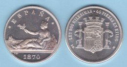 GOBIERNO PROVISIONAL ARRA DE PLATA/SILVER  1.870 #18-70 MÓDULO 5 PESETAS 1.870 SC/UNC  T-DL-11.835 - [ 1] …-1931 : Reino