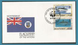 Montserrat 1990 745 à 746 FDC Dauphins Drapeau - Montserrat