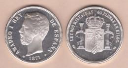 AMADEO I ARRA DE PLATA/SILVER  1.871 #18-75 MÓDULO 5 PESETAS 1.871  SC/UNC  T-DL-11.836 - [ 1] …-1931 : Reino