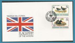 Tristan Da Cunha 1991 491 + 493 FDC Oiseaux Gallinule Poules D'eau Drapeau - Tristan Da Cunha
