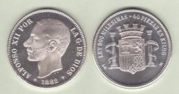 ALFONSO  XII   ARRA DE PLATA/SILVER  1.882 #18-82 MÓDULO 5 PESETAS 1.882  SC/UNC  T-DL-11.837 - Colecciones