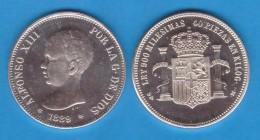 """ALFONSO  XIII   ARRA DE PLATA/SILVER  1.889 #18-89 """"PELÓN""""  MÓDULO 5 PESETAS 1.889  SC/UNC  T-DL-11.838 - Colecciones"""