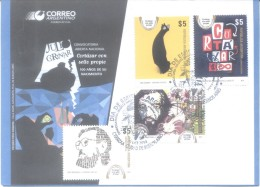 CORTAZAR CON SELLO PROPIO COMPLETE SET SERIE COMPLETA ARGENTINA FDC SOBRE