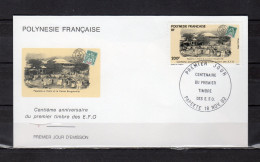 """POLYNESIE 1992 : Enveloppe 1er Jour """" 100 ANS Du 1er TIMBRE E.F.O. """" N° YT 421. Parf état. FDC - Stamps On Stamps"""