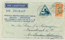 Nederlands Indië - 1933 - Pelikaan Vlucht Palembang - Amsterdam - Nederlands-Indië