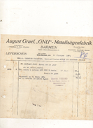Facture August Graef GNU Metallsagenfabrik à Barmen Le 9 Fevrier 1931 - Frankreich