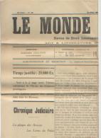 Le Monde Judiciaire, Revue De Droit International Et De Droit Français N°339 (1928) Tableau Des Créances Privilégiées - Journaux - Quotidiens