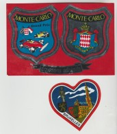 3 VIGNETTES AUTOCOLLANTES ADHESIVES - MONTE CARLO, MONTE CARLO GRAND PRIX, BRUXELLES - Stickers