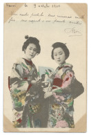 Deux Jeunes Femmes Japonaises En Kimono Traditionnel - Geishas - Colorisée - Carte Postée D´Hanoï En 1905 - Japon