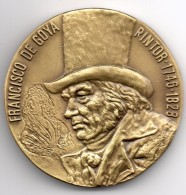 Superbe Médaille En Bronze.. 144grs-70mm..francisco De GOYA..la Maja - Spain