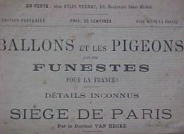 RARE , EO 1883 , BALLONS Et PIGEONS FUNESTES POUR  FRANCE, DETAILS INCONNUS  SIEGE De PARIS , Dr VAN HECKE , Voir - Documents Historiques