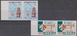 LIBERIA - 1965 Boy Scouts IMPERF Pairs. Scott 421-422. MNH ** - Liberia