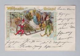 AK MOTIV WEIHNACHTEN 1918-12-24 Barmen Zwerge Engel Santa-Claus Kunst H.A. Brünning #6632 - Santa Claus