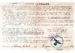 Garde Civique.Monsieur Lelièvre Robert.Rue Ringois N°60.AMIENS.De Garde Le 23-7-1942.gare De Saint-Roch.signé :PERDU. - Historische Documenten