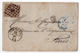 Belgique : 30c Sur Lettre De 1869 Pour La France (cachet P46 Au Verso)